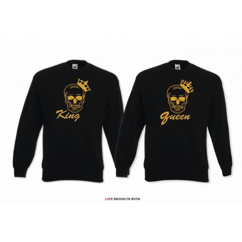 Bluza dla par KING&QUEEN Czaszka BIAŁY GOLD 2 sztuki