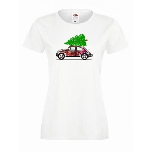 T-shirt lady DTG Świąteczne autko