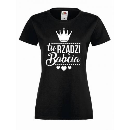T-shirt lady/oversize TU RZĄDZI BABCIA
