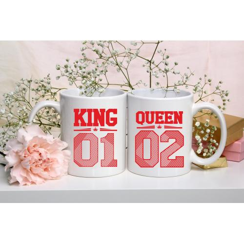 Kubek z nadrukiem 2 sztuki King&Queen  Black&Red