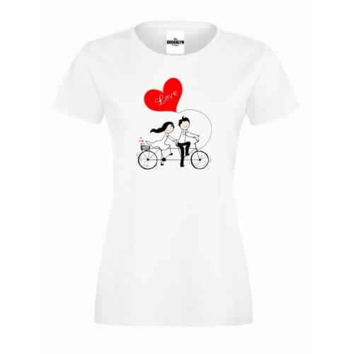 T-shirt lady slim DTG Love On A Bicycle