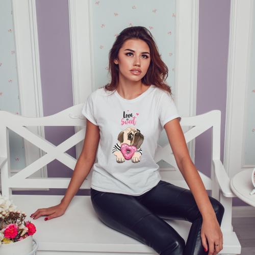 T-shirt lady slim DTG Love Is Sweet