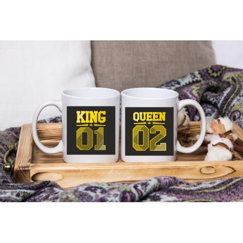 Kubek z nadrukiem 2 sztuki King&Queen Yellow/black