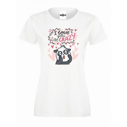 T-shirt lady slim DTG I love you like crazy