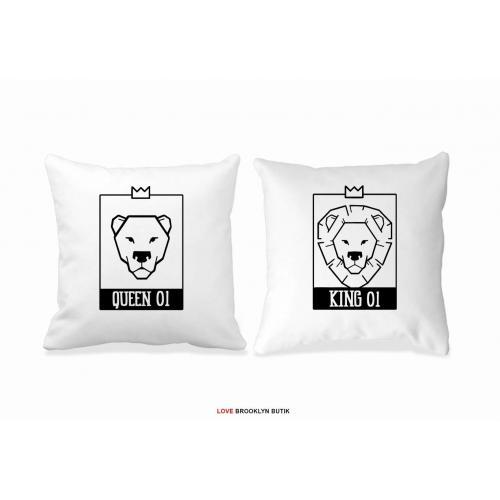 Poduszki białe King 01 & Queen 01 Lion 2 szt