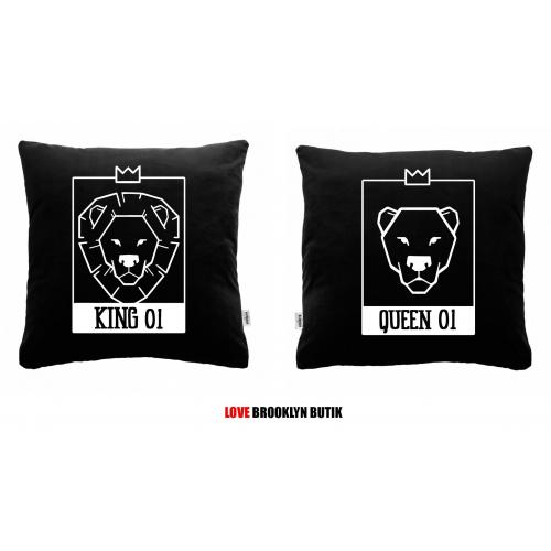 Poduszki czarne King & Queen LION