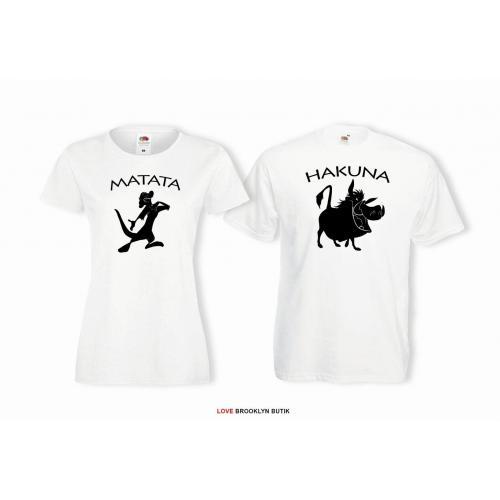 T-shirty dla par Hakuna matata przód biale 2 szt lady/oversize