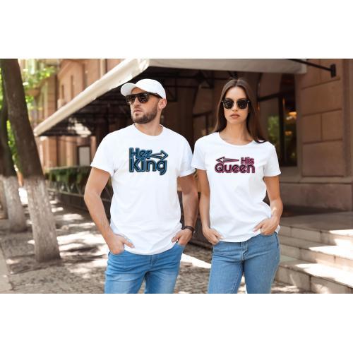T-shirty dla par HIS QUEEN & HER KING  przód biale 2 szt lady/oversize