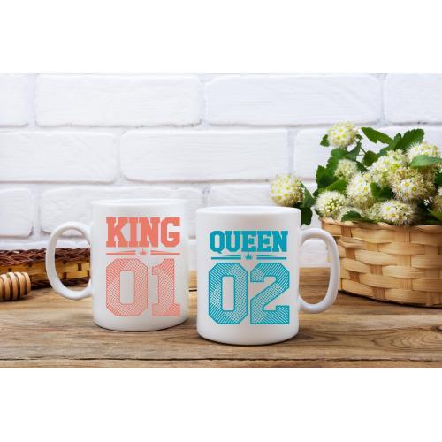 Kubek z nadrukiem King 01 & Queen 01 2 sztuki