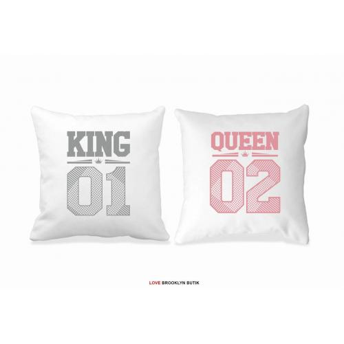 Poduszki King 01 & Queen 01 pink/grey  2 szt