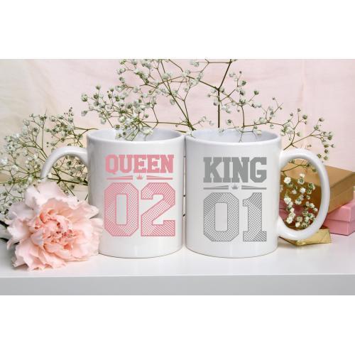 Kubek z nadrukiem King 01 & Queen 02 2 sztuki