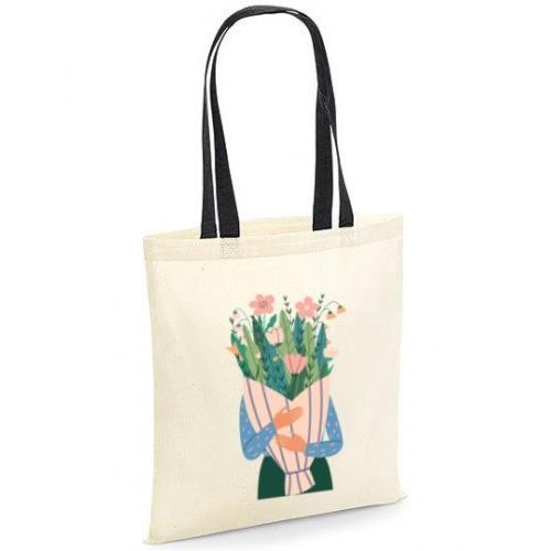Torba bawełniana ecri girl bukiet kwiatów