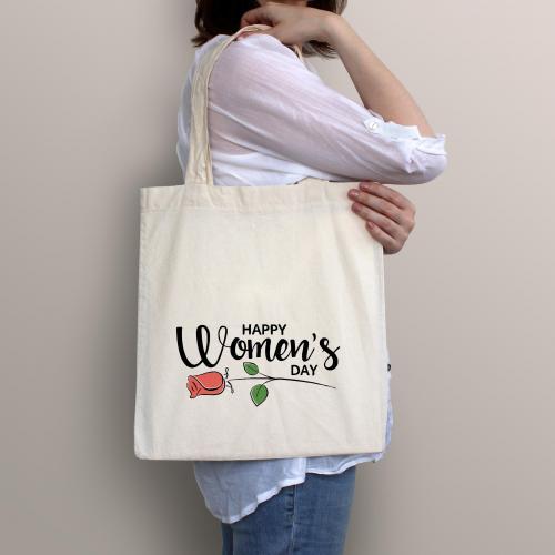 Torba bawełniana ecri happy women's day with roses