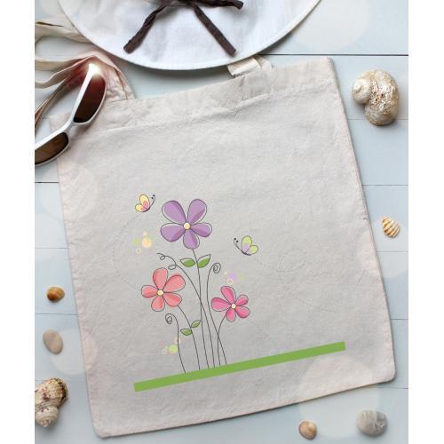 Torba bawełniana ecri kwiatuszki