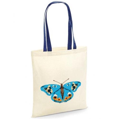 Torba bawełniana niebieski motyl kolor