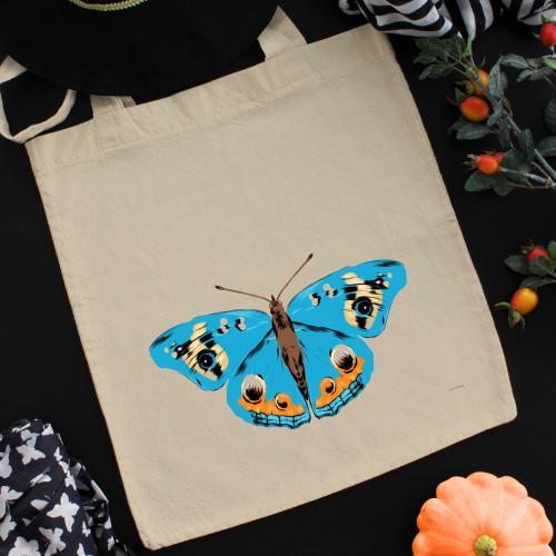 Torba bawełniana ecri niebieski motyl
