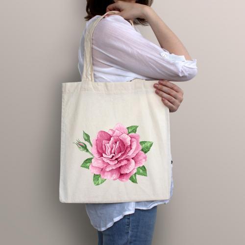 Torba bawełniana ecri pink flower