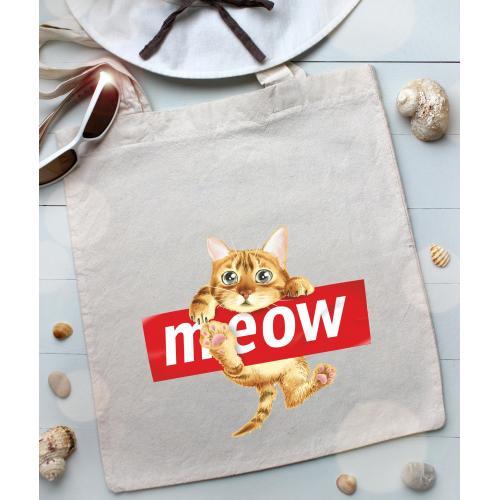 Torba bawełniana ecri cat meow