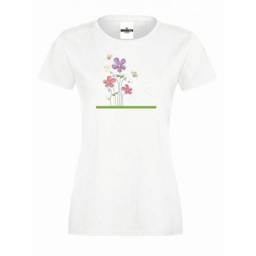 T-shirt lady slim DTG kwiatuszki