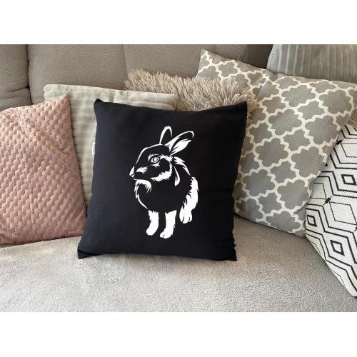 PODUSZKA czarna króliki cienie