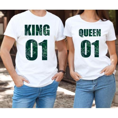 T-shirty dla par QUEEN & KING Wood przód biale 2 szt lady/oversize