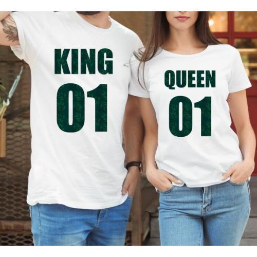 T-shirty dla par QUEEN & KING  monstera przód lady/oversize biale 2 szt