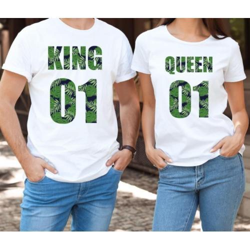 T-shirty dla par QUEEN & KING weed przód lady/oversize biale 2 szt