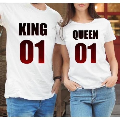 T-shirty dla par QUEEN & KING  monstrea gradnient  przód lady/oversize biale 2 szt