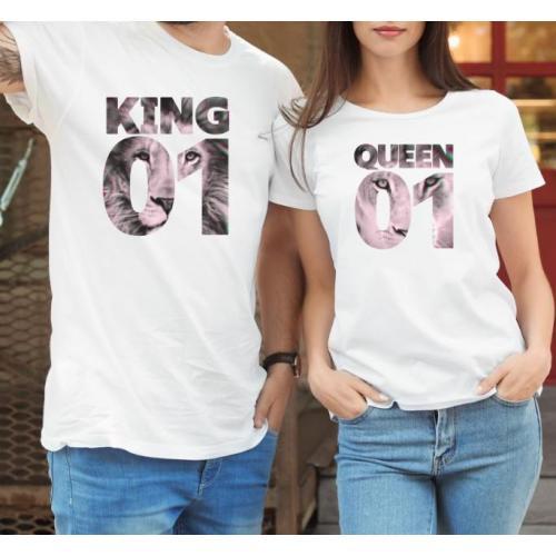 T-shirty dla par QUEEN & KING  monstrea klucze/kwiaty lady/oversize biale 2 szt