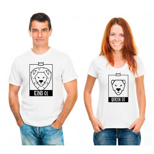 T-shirty dla par King 01 & Queen 01 LION przód biale 2 szt lady/oversize