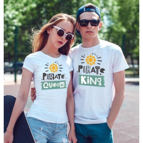 T-shirty dla par Pirate QUEEN & Pirate KING przód biale 2 szt lady/oversize