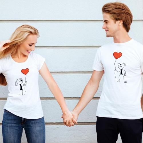 T-shirty dla par BALONIKI przód biale 2 szt lady/oversize