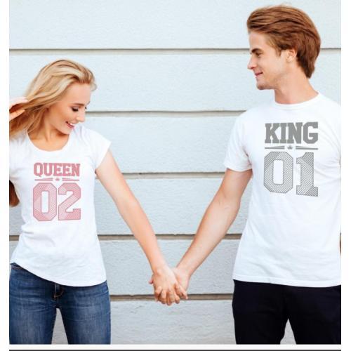 T-shirty dla par King 01 & Queen 01 przód biale 2 szt lady/oversize pink/grey