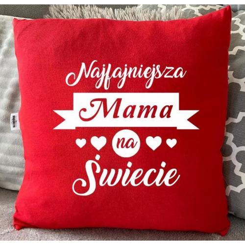 PODUSZKA druk mama fajna z ciebie babka czerwona/czarma