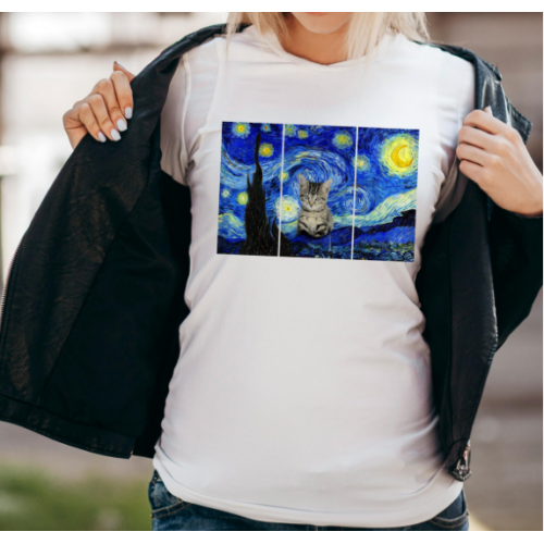 T-shirt lady slim DTG cat moon