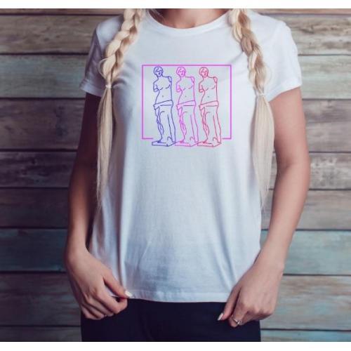 T-shirt lady slim DTG Venus Neon