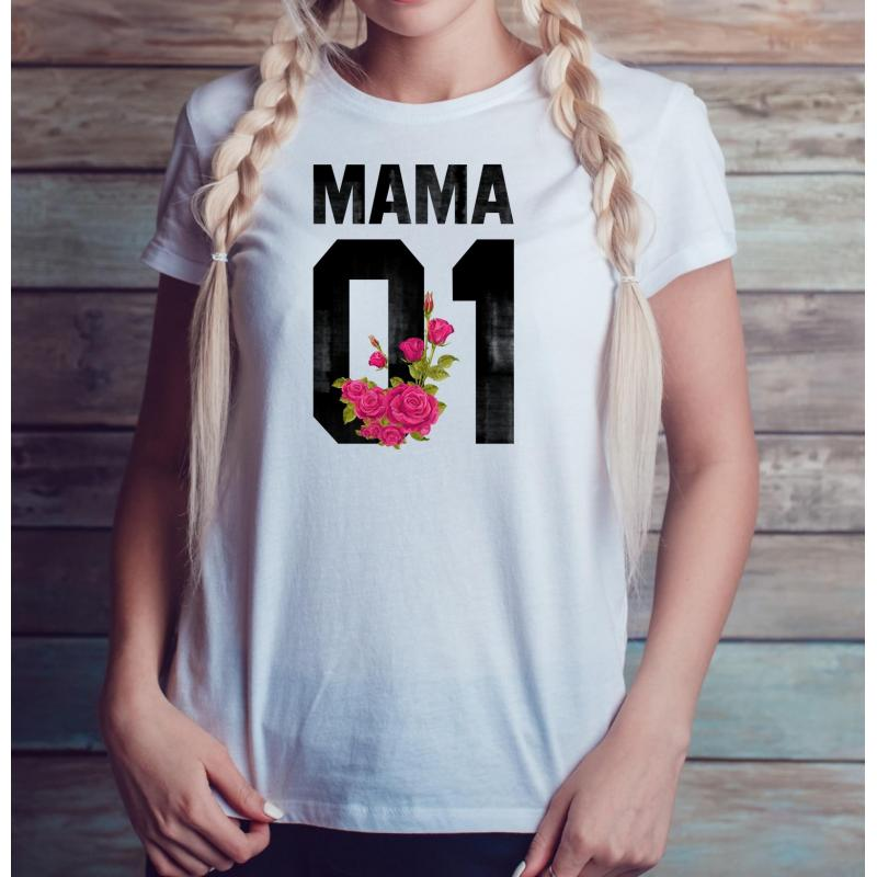 T-shirt lady slim DTG MAMA FLOWER
