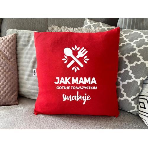 PODUSZKA druk najlepsza mama na świecie czerwona/czarma