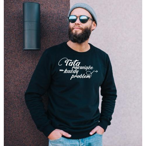 Bluza oversize szara/czarna Tata rozwiąże każdy problem
