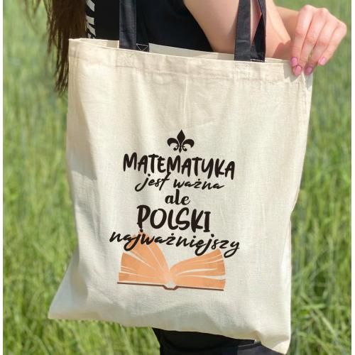 Torba dtg Matematyka jest ważna ale polski najważniejszy - kolorowe uszy