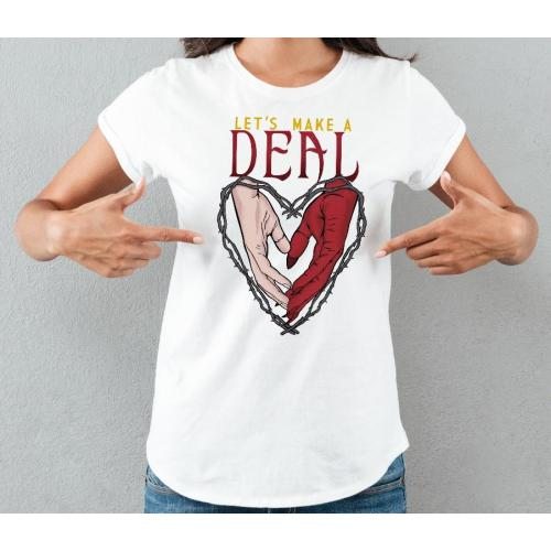 T-shirt lady slim DTG  Deal with  the devil