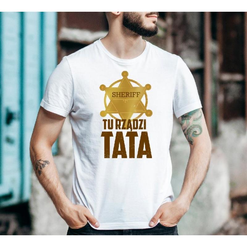 T-shirt oversize Tata ma zawsze rację red