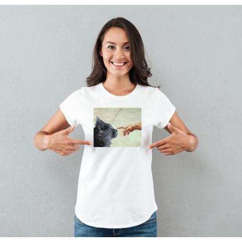T-shirt lady slim DTG  kot michał anioł
