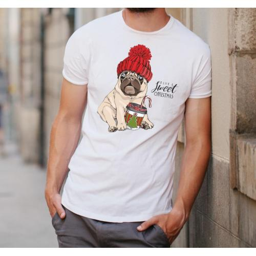 T-shirt oversize DTG Pig Merry Chrismas