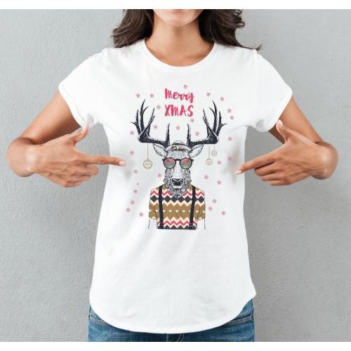 T-shirt lady slim DTG  Pig merry chrismas