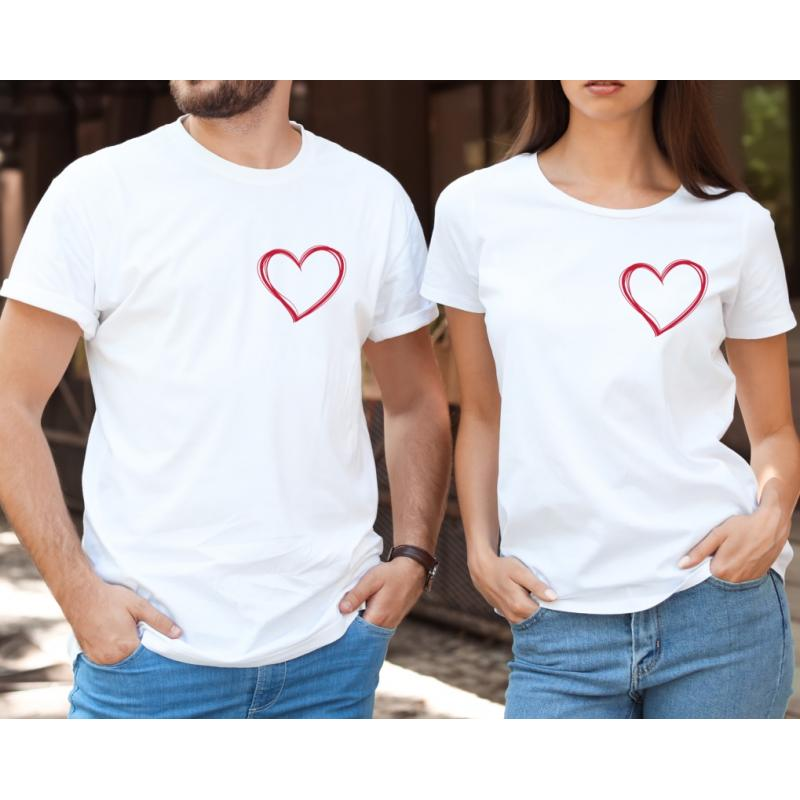 Koszulki z sercem dla par