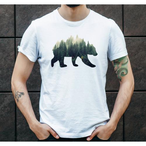 T-shirt oversize DTG Niedźwiedź forest