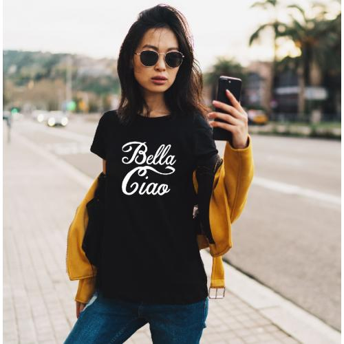 T-shirt lady czarna Bella ciao