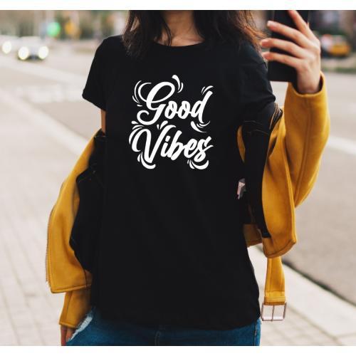 T-shirt lady czarna Good Vibes