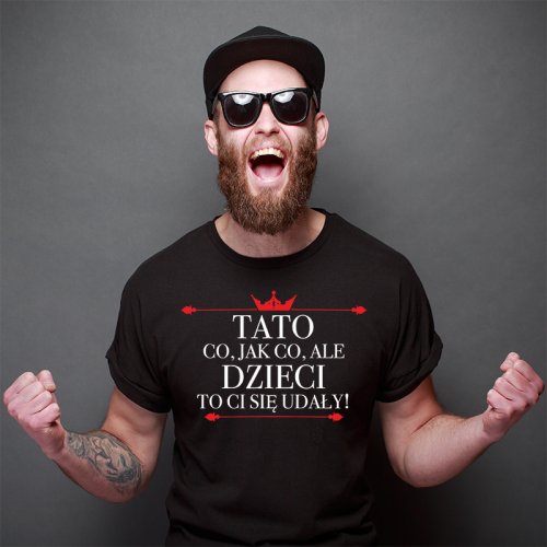T-shirt czarny Tato Dzieci...